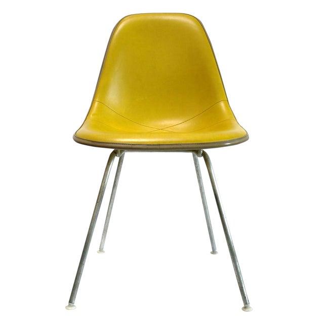 Image of Eames Fiberglass Naugahyde Side Chair Yellow