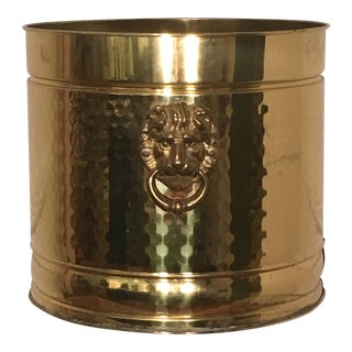 Vintage Hammered Brass Planter With Lion Heads