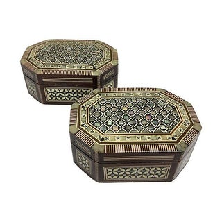 Inlaid Mother of Pearl Wood Boxes - A Pair