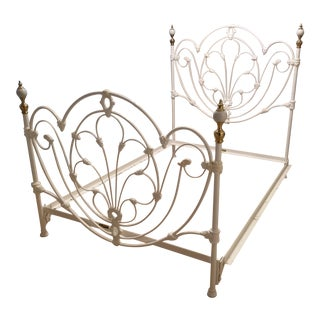 Antique White Wrought Iron Bed Frame