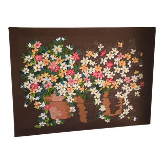 Crewelwork Flower Pot Art