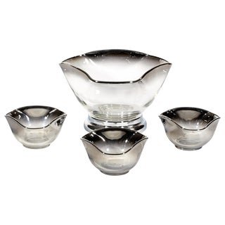 1960's Silver-Fade Salad Bowl Set - Set of 4