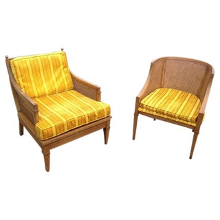 Lewittes Matching Cane Accent Chairs - A Pair