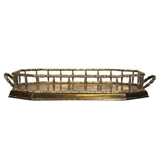 Vintage Brass Bamboo Style Tray With Handles
