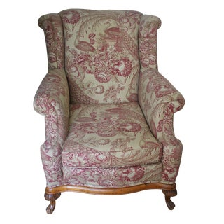 French Fruitwood Wingback Bergere Chair