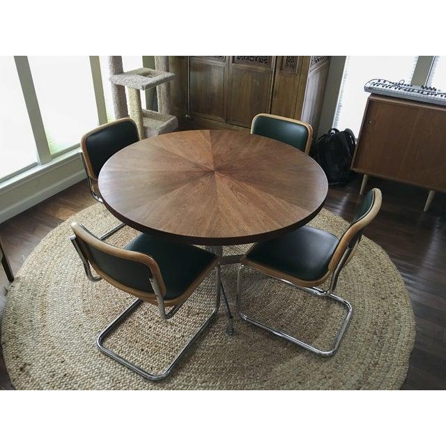 Vintage MCM Chrome & Walnut Dining Table - Image 8 of 8