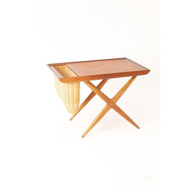 Teak Walnut MCM Side Table Woven Magazine Basket - Image 3 of 11