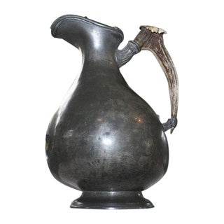 Britannia Metal Pitcher With Antler Horn Handle