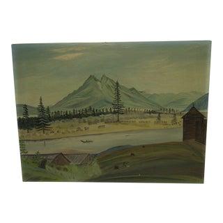 "Circa 1940 ""Western Mountains"" Original Painting"