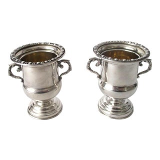 Traditional Antique 900 Silver Mini-Urns - A Pair