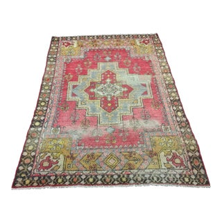 "Distressed Vintage Turkish Anatolian Rug - 3'10 1/2"" x 5'9 1/2"""