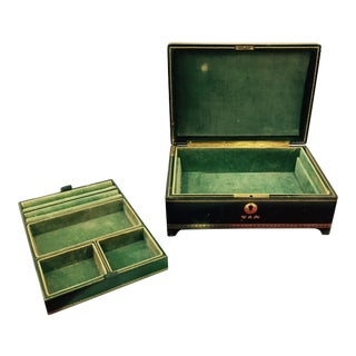 Vintage Italian Green Leather Caddy or Jewelry Box