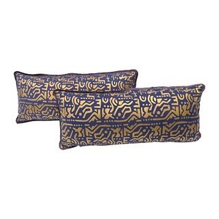 Purple and Gold Lumbar Pillows - A Pair