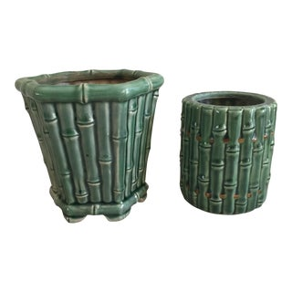 Asian Bamboo Ceramic Planter Pots - A Pair