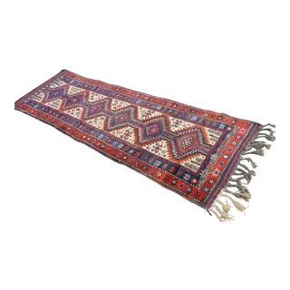 Vintage Kurdish Hand Knotted Wool Herki Tribal Rug - 3′2″ X 10′4″
