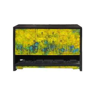 Chinese Sunflower Oil Paint Buffet Table Credenza