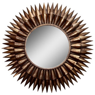 Large Mid-Century Spanish Gilt Sunburst Mirror