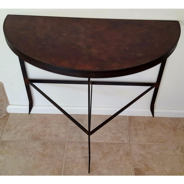 Iron & Acid Washed Copper Console Table - Image 3 of 7