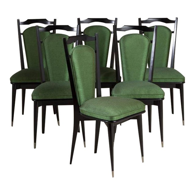 Set of Six Italian Ebonized Framed Dining Chairs, 1950s - Image 1 of 7