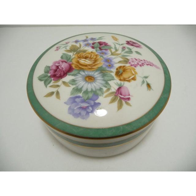 Mikasa Floral Porcelain Round Vanity Box Aqua - Image 2 of 6