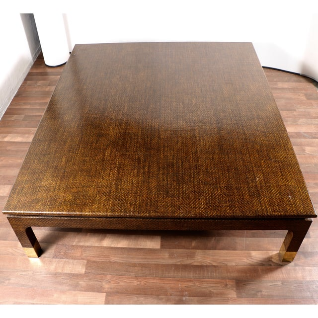 Raffia covered coffee table by harrison van horn chairish for Raffia coffee table