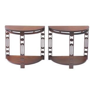 Art Deco Demilune Side Tables - A Pair