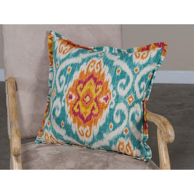 Chenille and Linen Pillow With A Bright Ikat Motif Design - Image 2 of 4