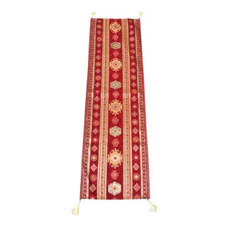 Red Turkish Kilim Table Linen