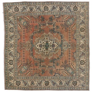 "Persian Tabriz Rug With Traditional Style- 9'8"" X 10'2"""