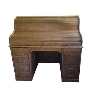 Macey Roll Top Tigerwood Oak Desk & Original Keys