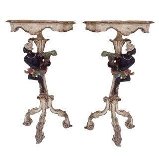 19th Century Venetian Blackamoor Side Tables- A Pair