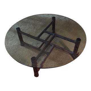 McGuire Glass Top & Bamboo Base Coffee Table