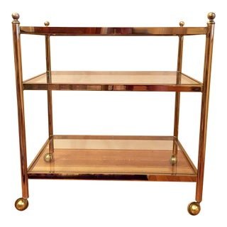 French Brass & Glass Rolling Bar Cart