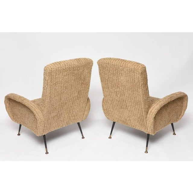 Image of Mid-Century Italian Lounge Chairs with Original Metal and Brass Legs