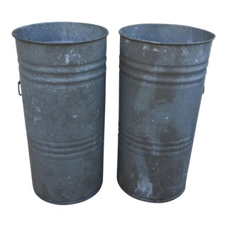Vintage F.H. Lawson & Co. Galvanized Tin Planter Pails- A Pair