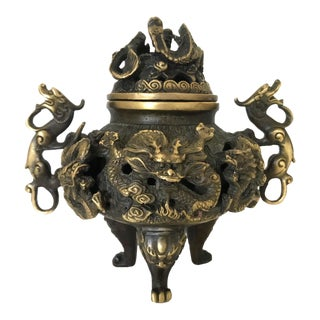 Vintage Brass Dragon Censer