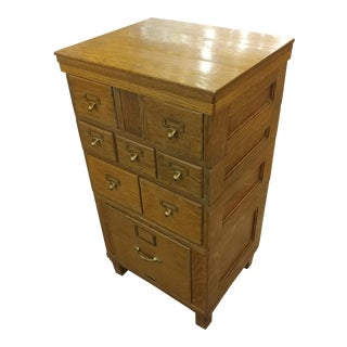 Vintage Oak File & Card Cabinet