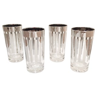 Silver/Chrome Striped Tumbler Glasses - Set of 4