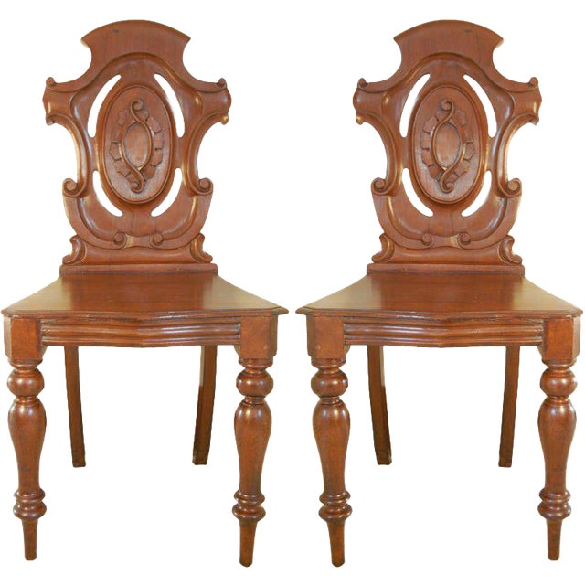 Pair of English Hall Chairs - Image 1 of 3