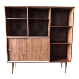Mid-Century Style Custom Walnut Bookcase