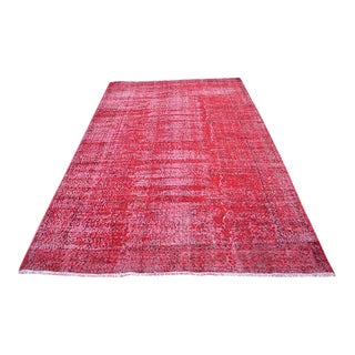 "Turkish Overdyed Floor Red Rug -- 5'11"" X 9'4"""