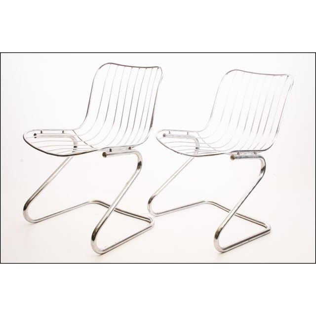 Vintage Italian Chrome Metal Dining Chairs - Set of 4 - Image 6 of 11
