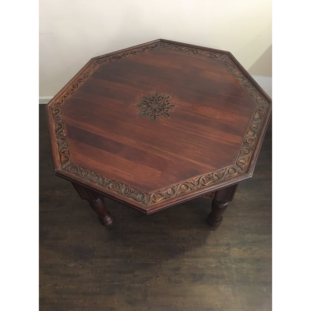 Image of Hexagonal Carved Wood Moroccan Table