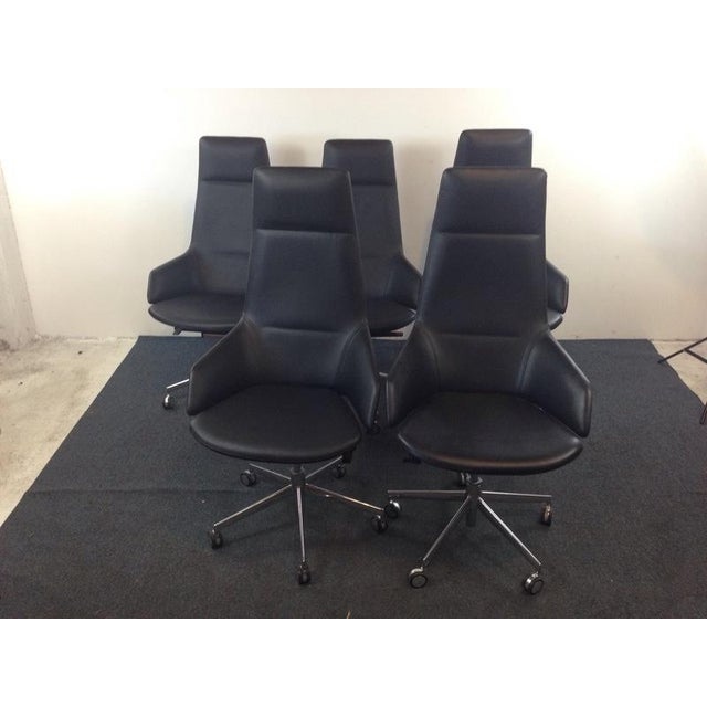 Image of Jean-Marie Massaud Leather Upholstered 'Aston' Style Office Chairs - Set of 5