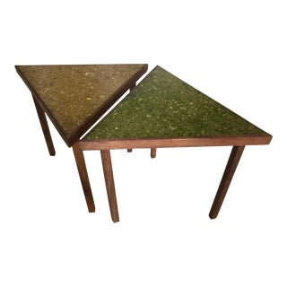 Triangular Resin Top Side Tables - a Pair