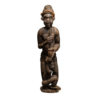 Bamileke Wooden Sculpture of a Woman and Child