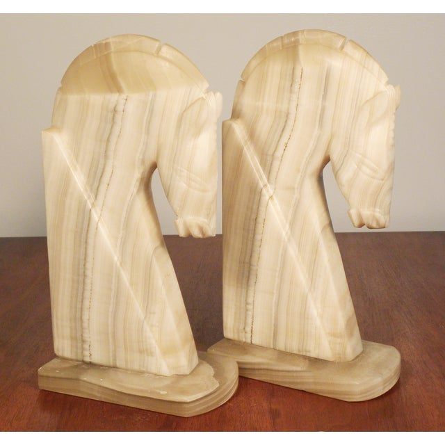 Image of Vintage Large Horse Head Agate Bookends - Set of 2