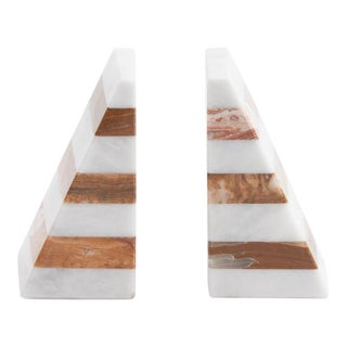 Marble Blocked Bookends - A Pair