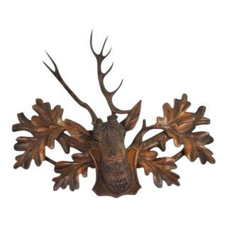 19th Century Black Forest Carved Stag Leaf Motif Mount