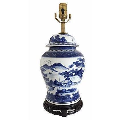 Blue & White Pagoda Ginger Jar Lamp - Image 1 of 5